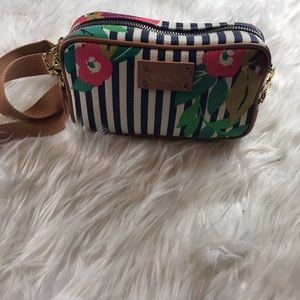 Spartina 449 mini linen/leather crossbody bag